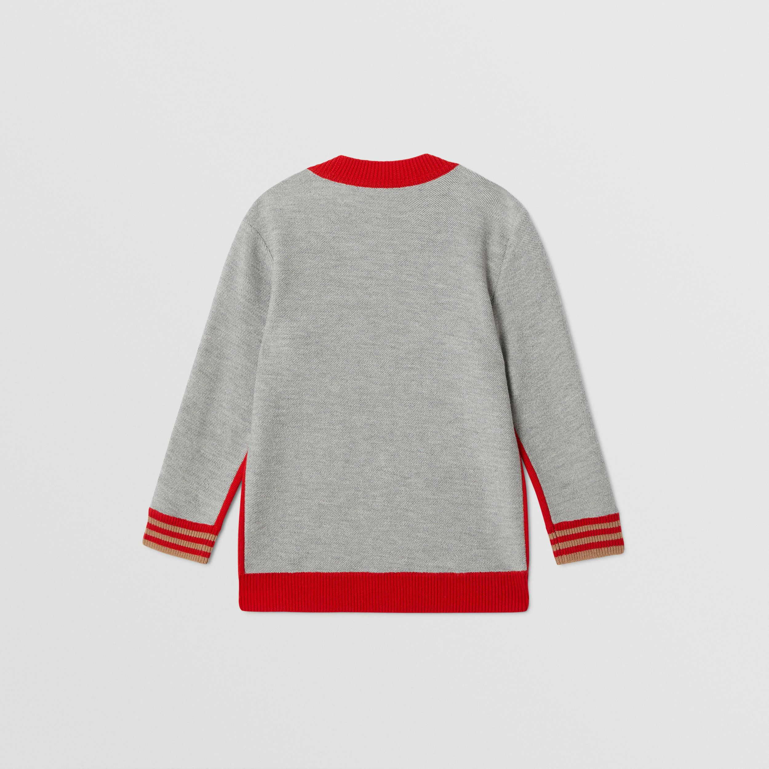 B Motif Merino Wool Jacquard Sweater in Bright Red | Burberry - 4
