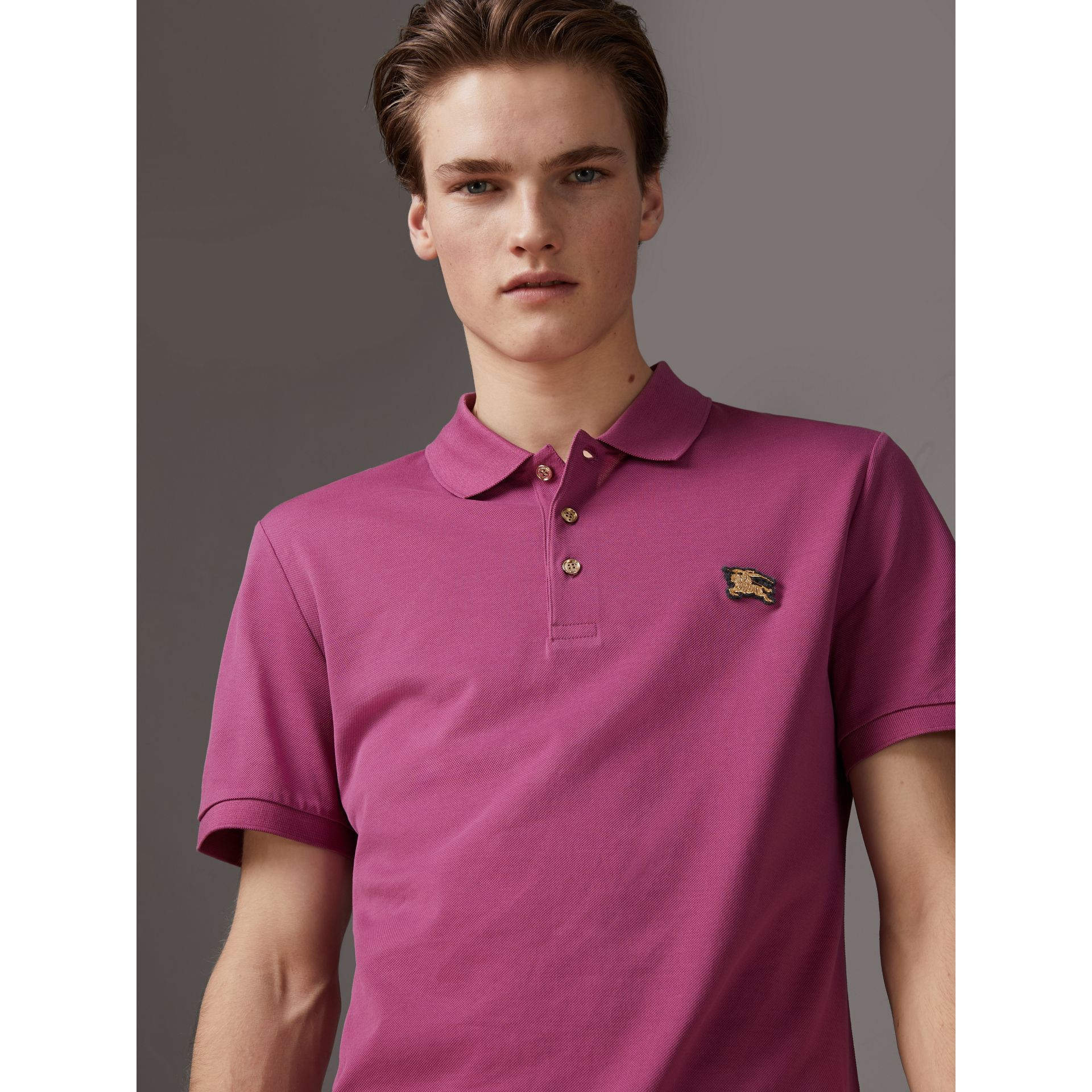 Cotton Piqué Polo Shirt in Pink Azalea - Men | Burberry - gallery image 4