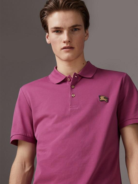 Camisa polo de algodão piquê (Rosa Azaleia)