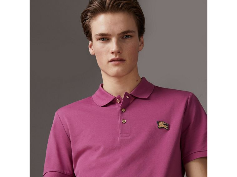 Cotton Piqué Polo Shirt in Pink Azalea - Men | Burberry - cell image 4