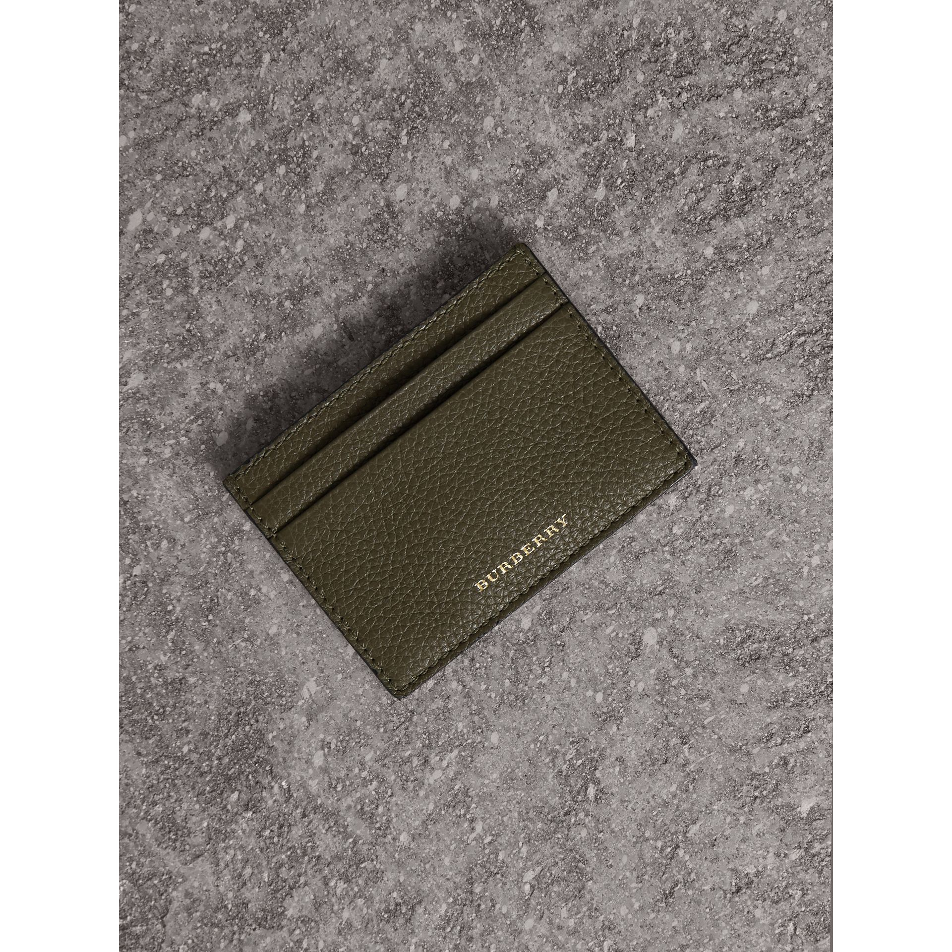 House Check and Grainy Leather Card Case in Sage - Men | Burberry - gallery image 1