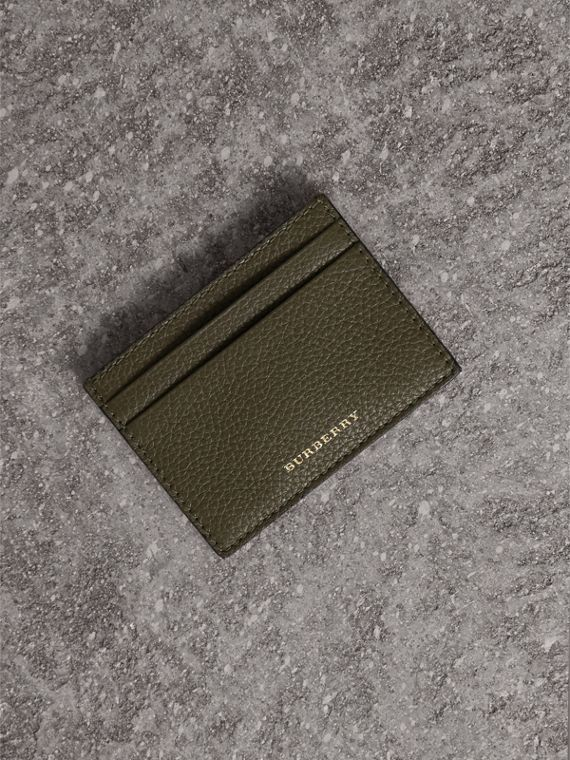 House Check and Grainy Leather Card Case in Sage