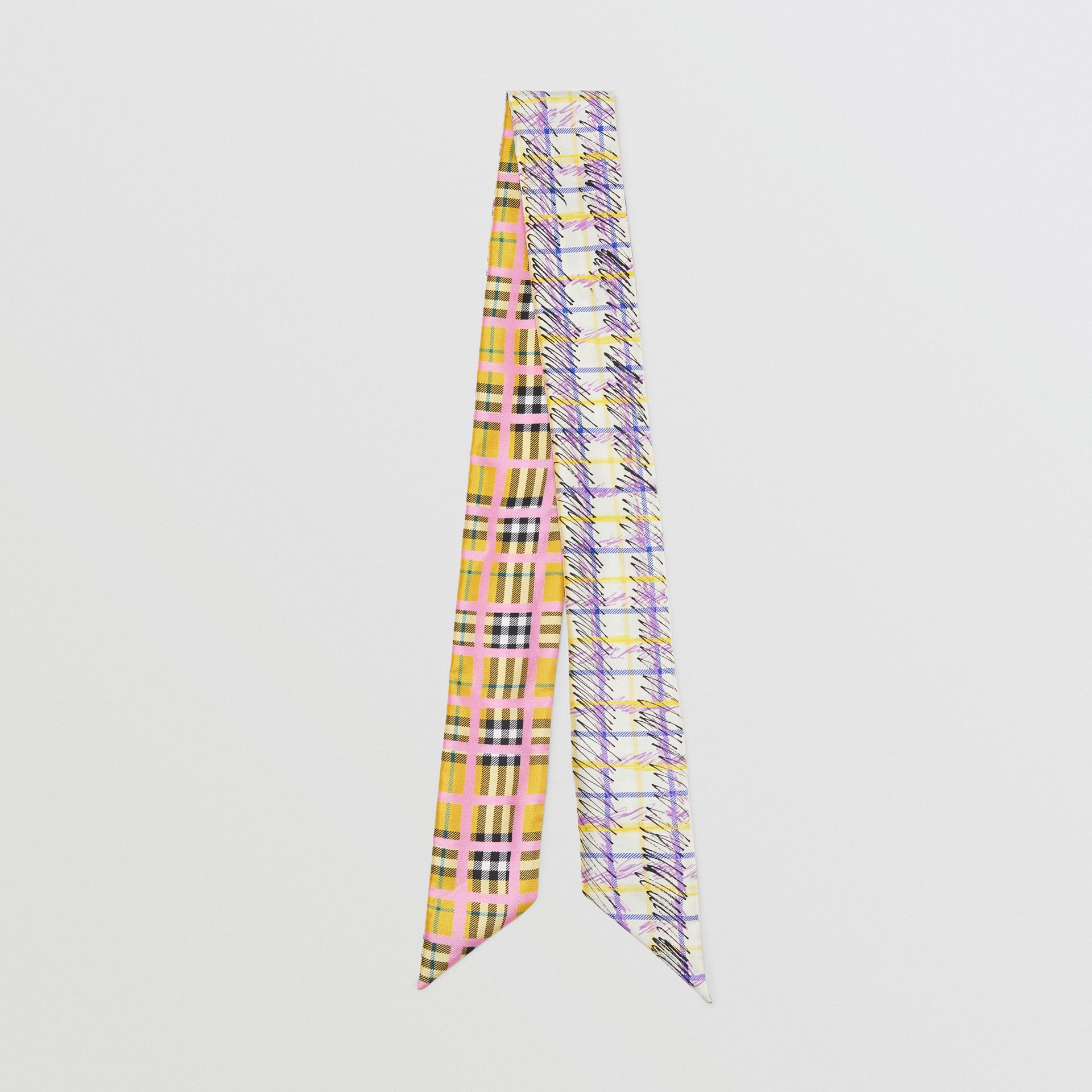 Scribble Check Silk Skinny Scarf in Bright Yellow - Women | Burberry - gallery image 0