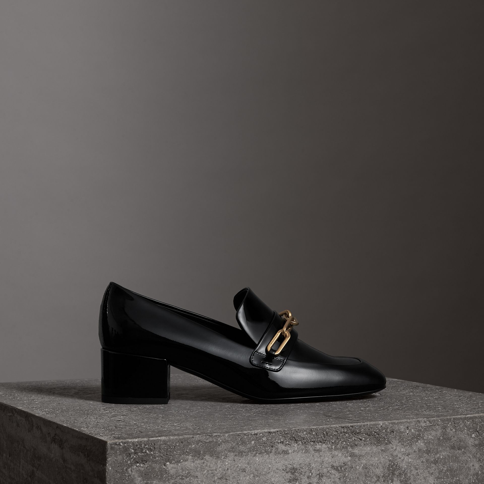 Link Detail Patent Leather Block-heel Loafers in Black - Women | Burberry - gallery image 0