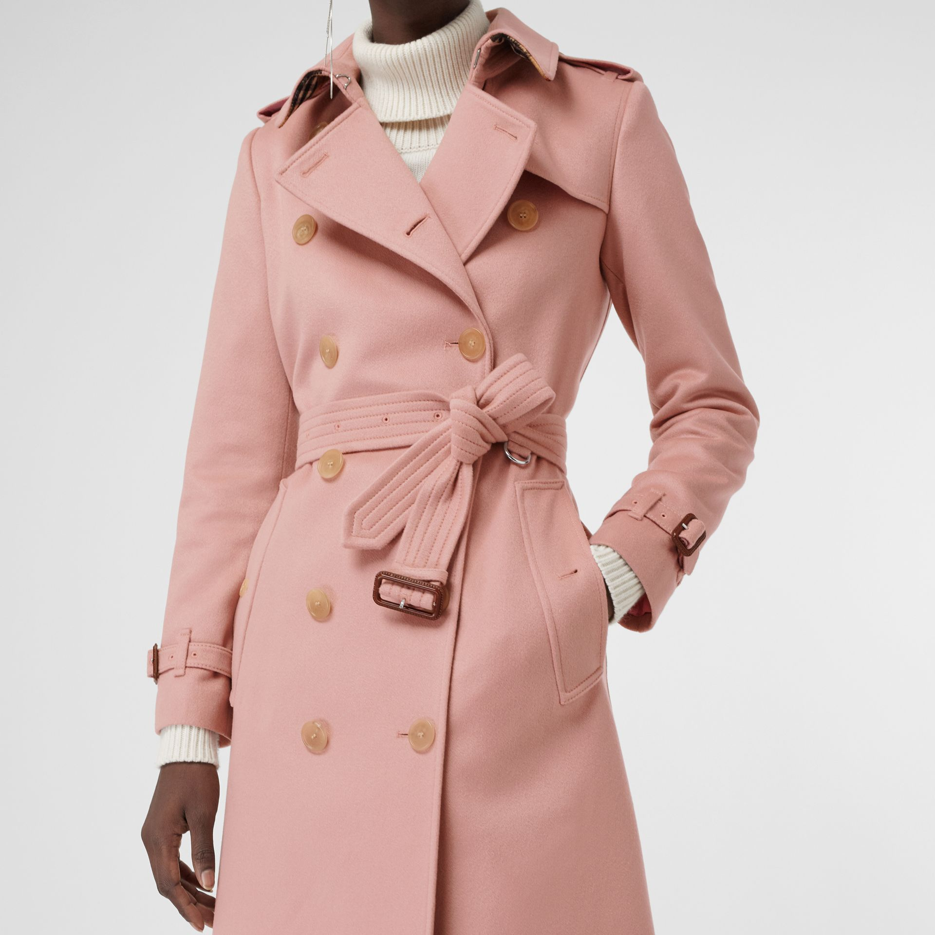 Cashmere Trench Coat in Chalk Pink - Women | Burberry - gallery image 5