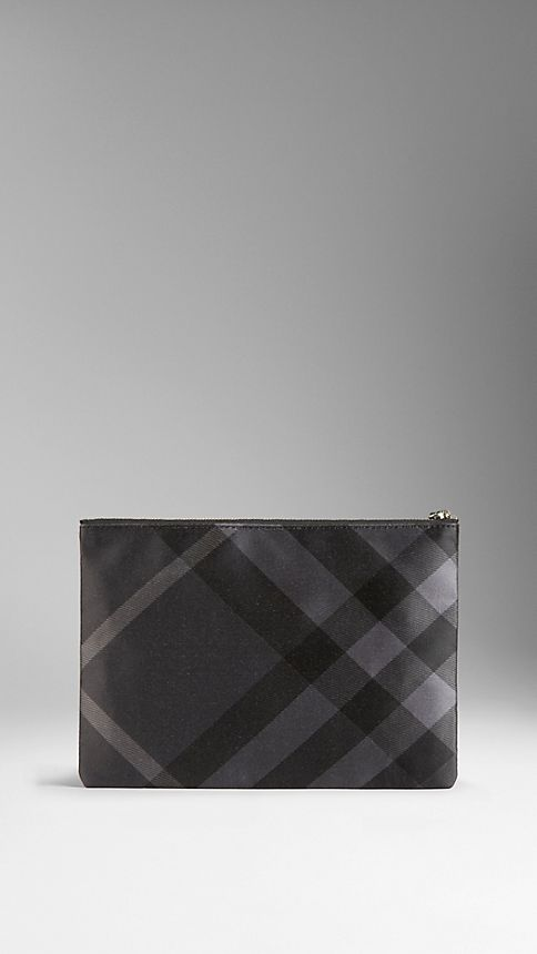 Black/charcoal Large Check Silk Satin Beauty Wallet - Image 2