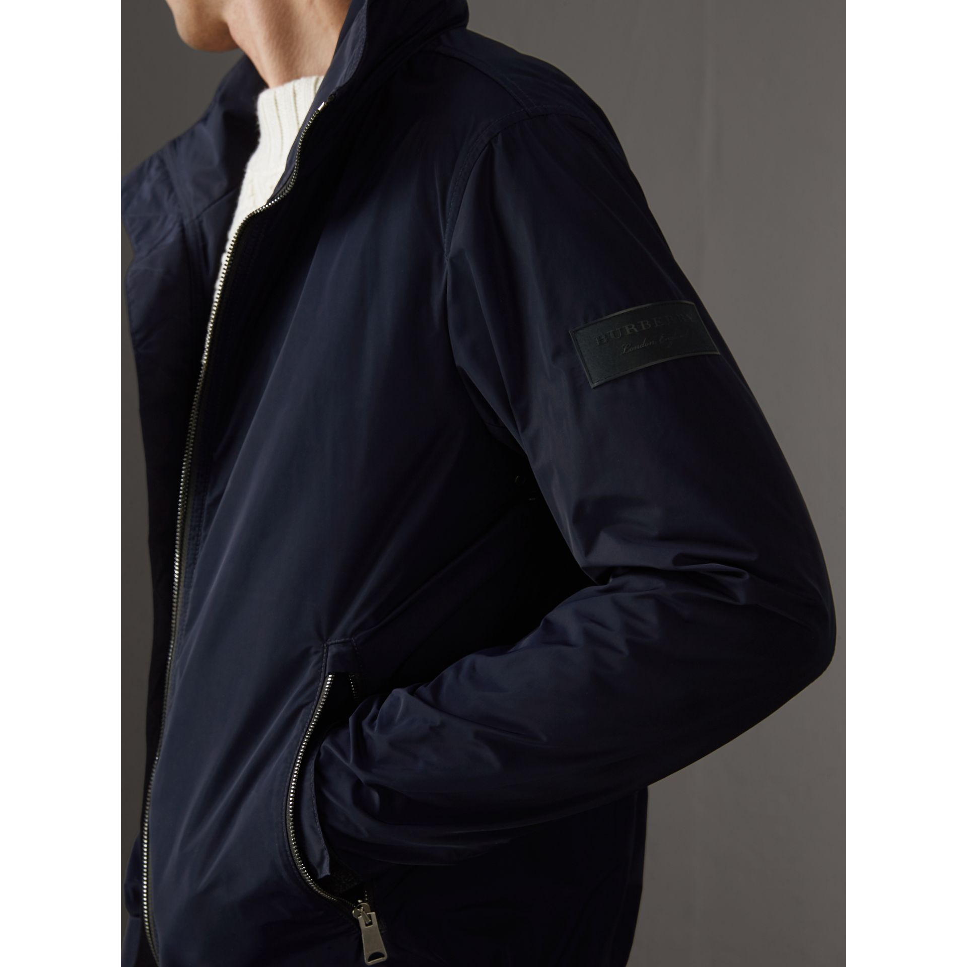 Packaway Hood Showerproof Jacket in Navy - Men | Burberry Australia - gallery image 1