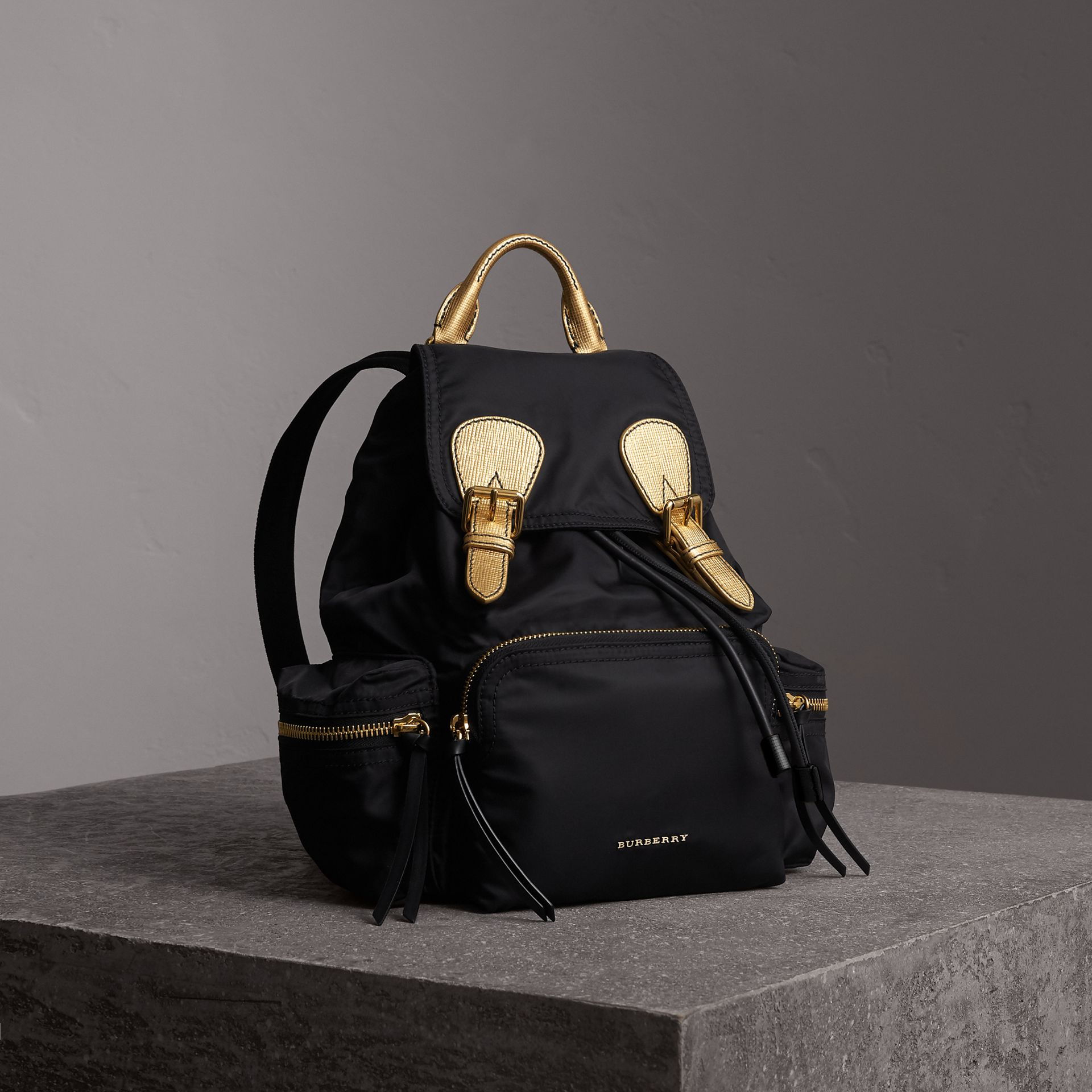 The Medium Rucksack in Two-tone Nylon and Leather in Black/gold - Women | Burberry Hong Kong - gallery image 0