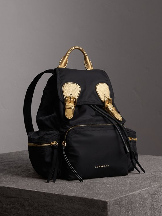 Zaino The Rucksack medio in nylon bicolore e pelle (Nero/oro)