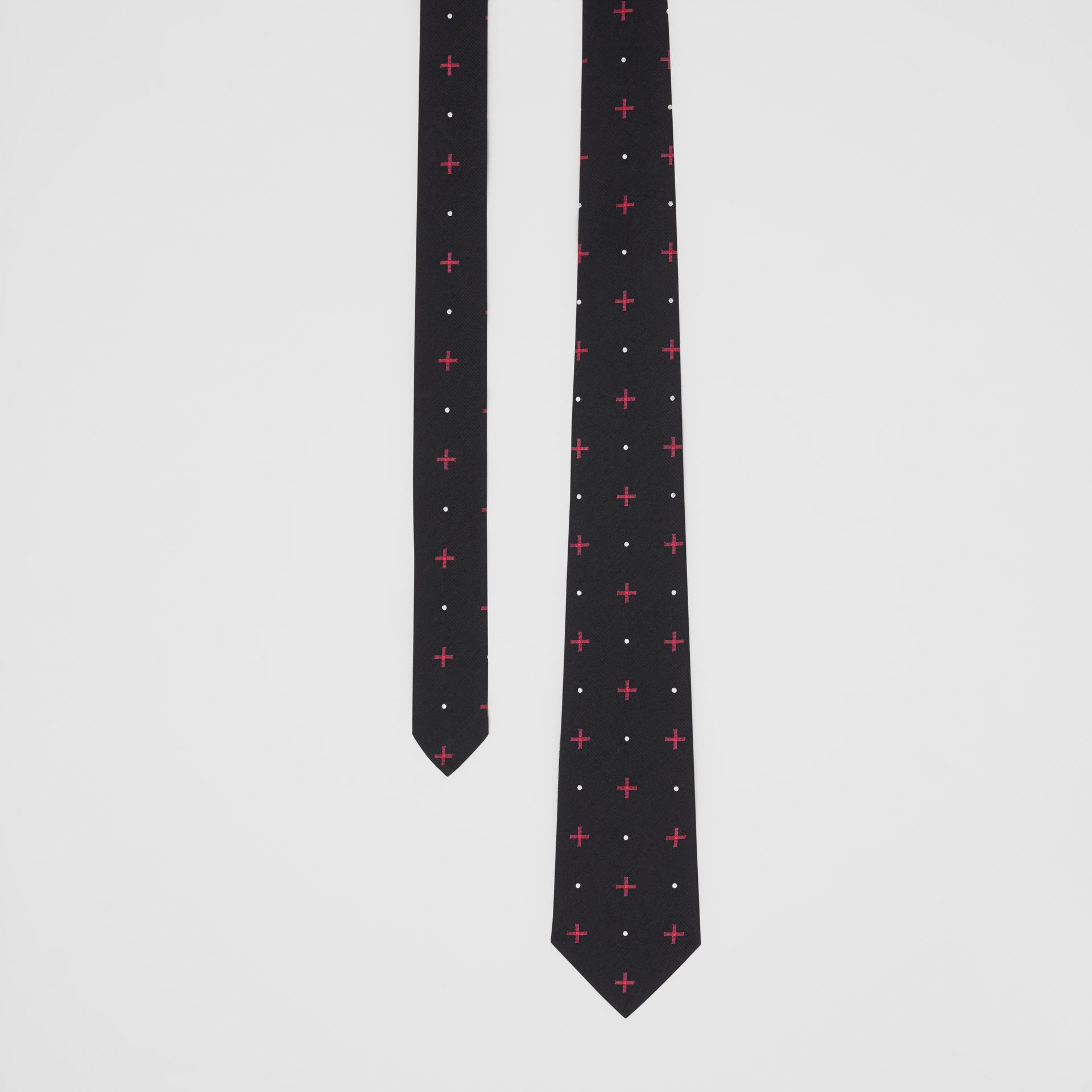 Classic Cut Graphic Silk Wool Jacquard Tie in Black - Men | Burberry United States - gallery image 0