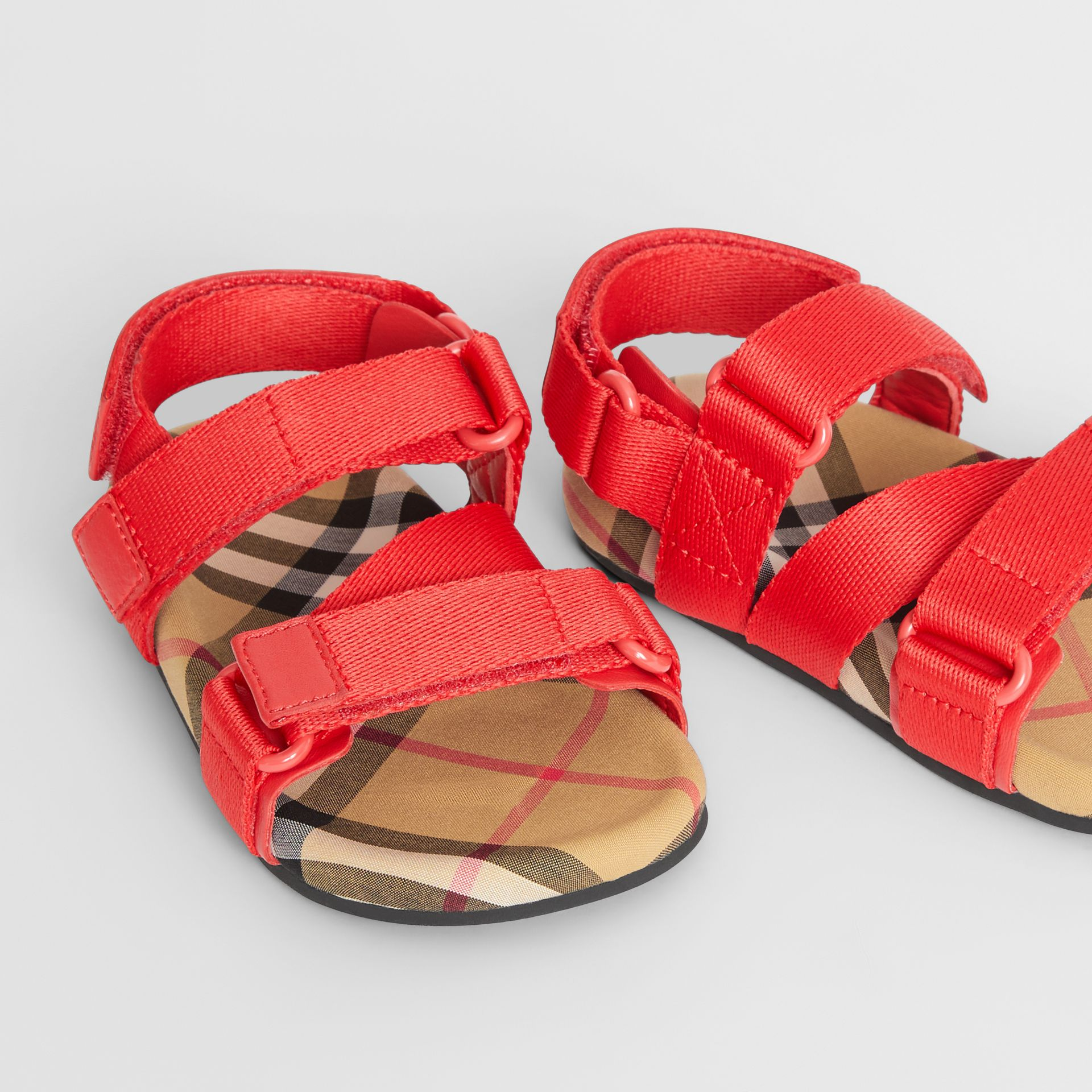 Ripstop Strap Vintage Check Cotton Sandals in Bright Red/antique Yellow - Children | Burberry Canada - gallery image 1