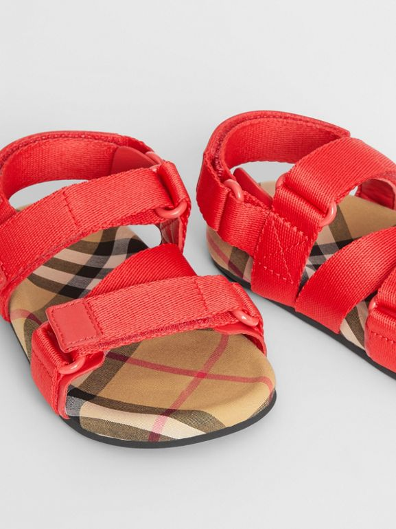 Ripstop Strap Vintage Check Cotton Sandals in Bright Red/antique Yellow - Children | Burberry Australia - cell image 1