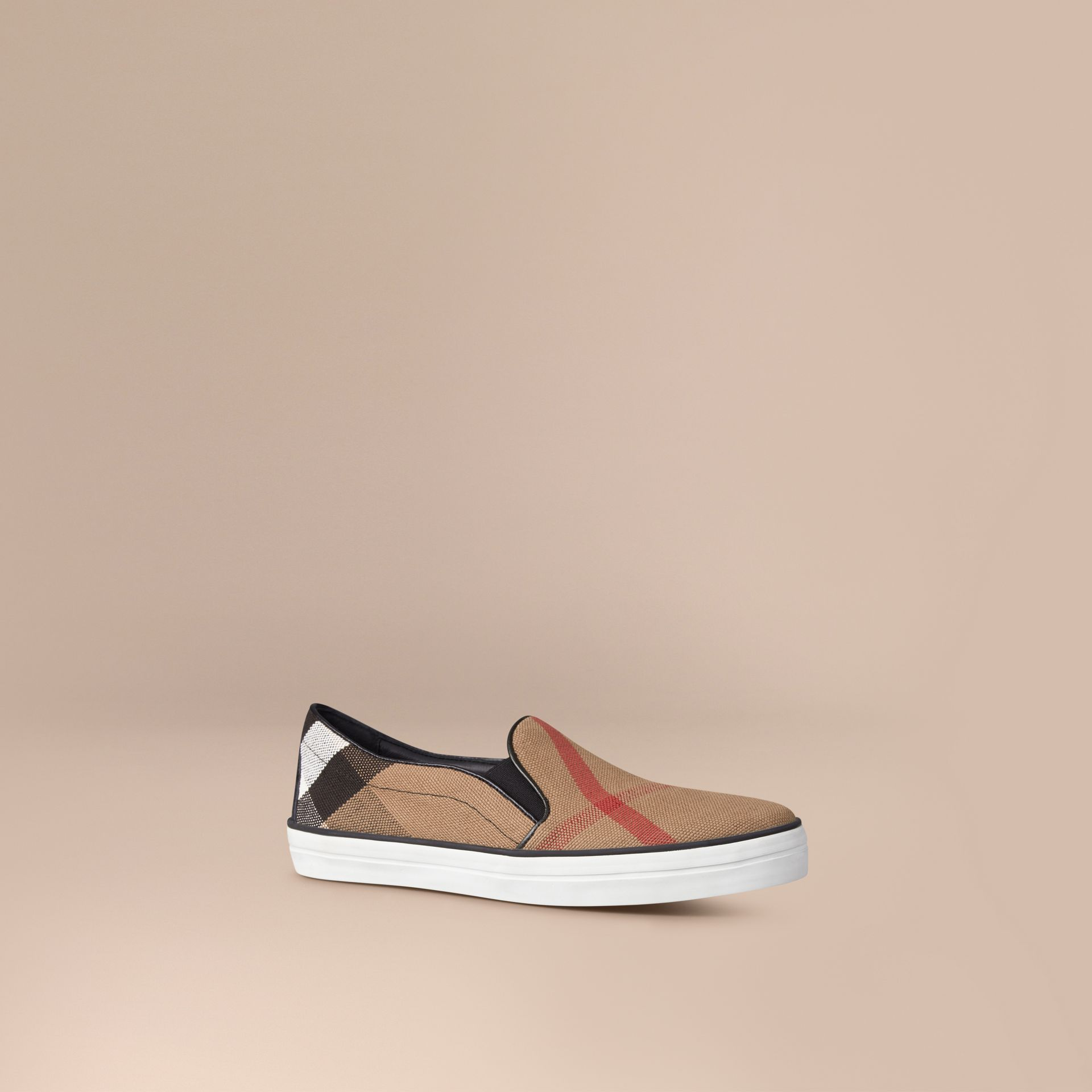 Canvas Check Slip-on Trainers in Black - Women | Burberry Canada - gallery image 1