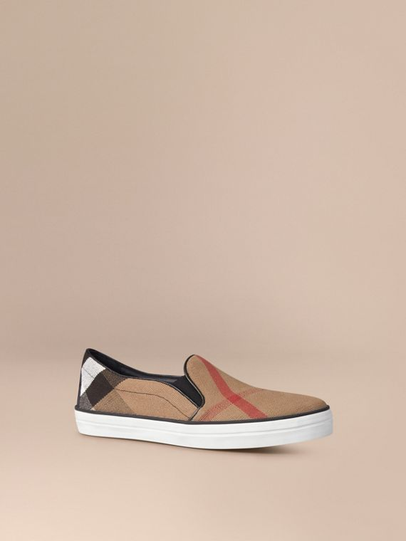 Sport-Slipper mit Canvas Check-Muster - Damen | Burberry