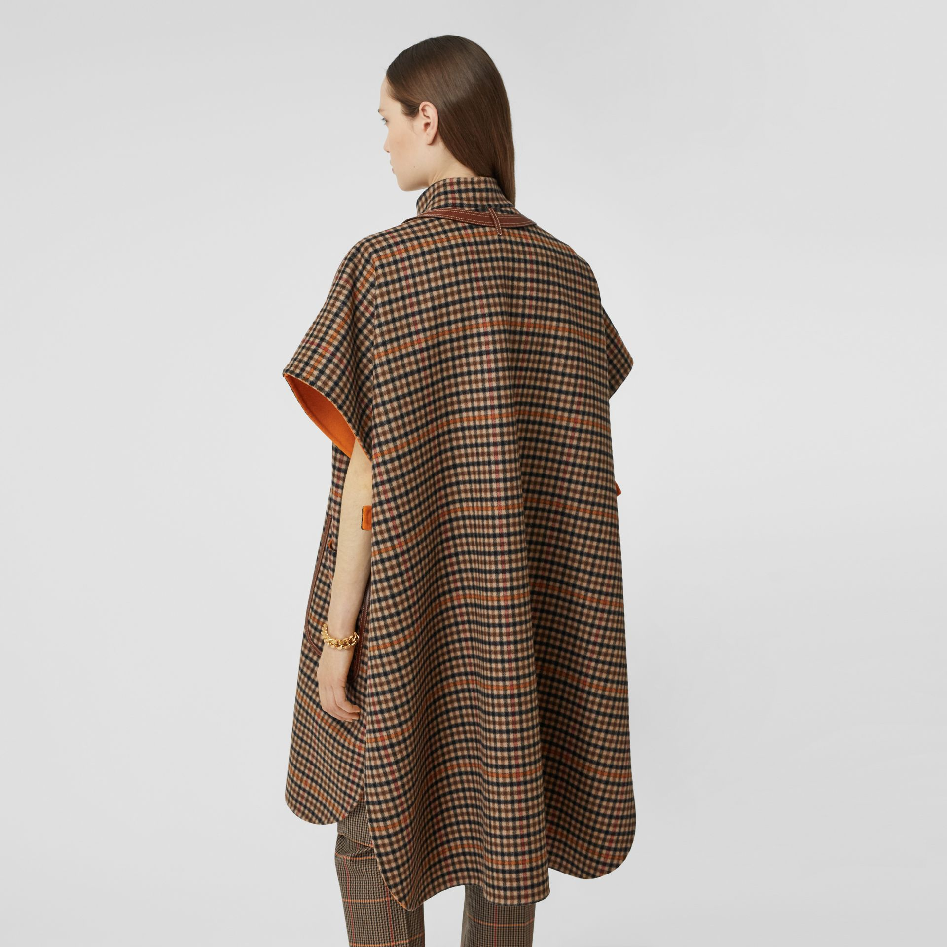 Double-faced Check Wool Cape in Bright Orange - Women | Burberry United Kingdom - gallery image 2