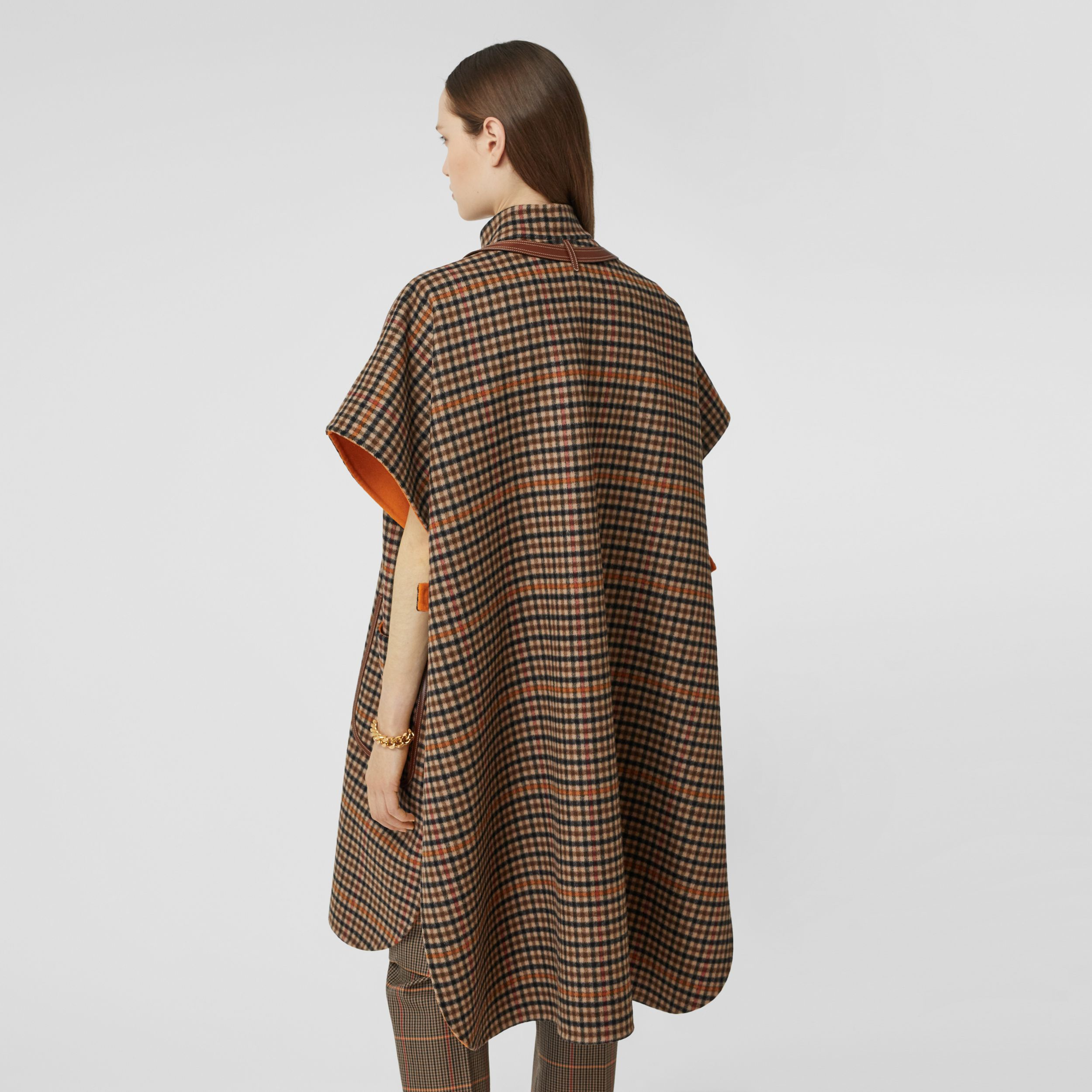 Double-faced Check Wool Cape in Bright Orange - Women | Burberry - 3
