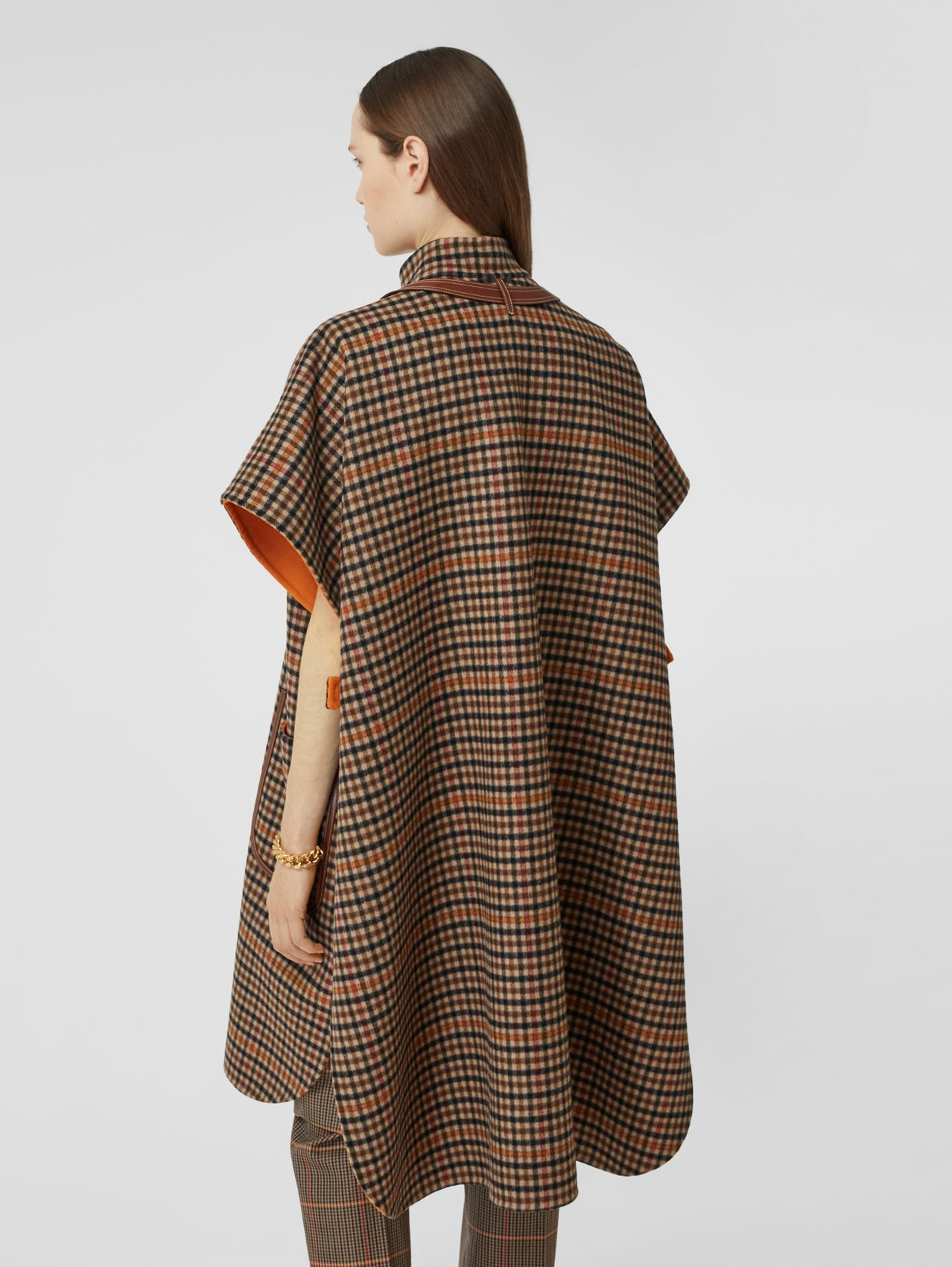 Double-faced Check Wool Cape in Bright Orange