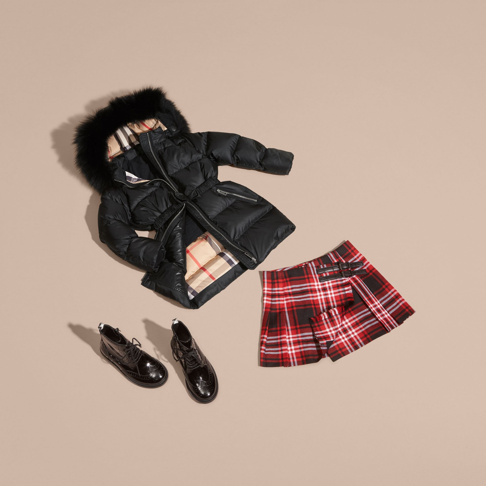 Detachable Fox Fur Trim Hood Down-filled Coat in Black - Girl | Burberry Canada - gallery image 5