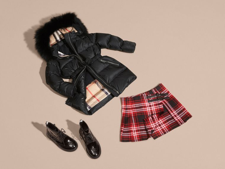 Detachable Fox Fur Trim Hood Down-filled Coat in Black - Girl | Burberry Canada - cell image 4
