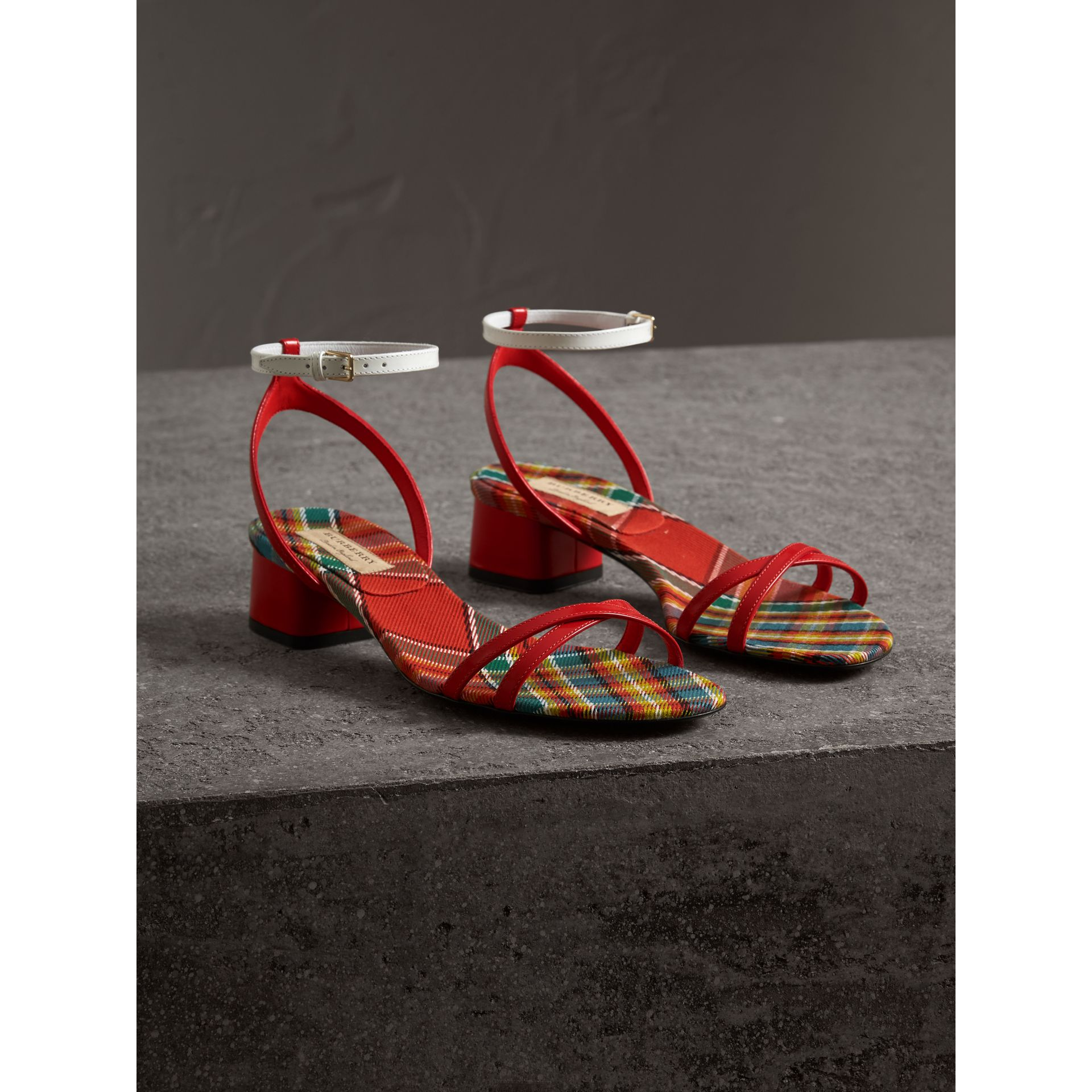 Tartan and Patent Leather Block-heel Sandals in Orange Red - Women | Burberry - gallery image 4