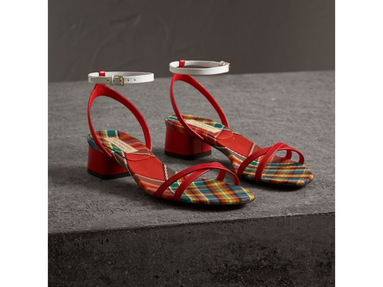Tartan and Patent Leather Block-heel Sandals in Orange Red - Women | Burberry - cell image 4