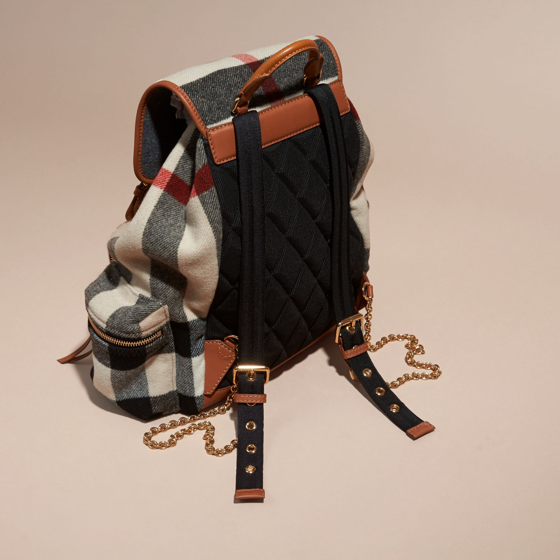 Check/grey The Large Rucksack in Check Wool Blend and Leather - gallery image 4