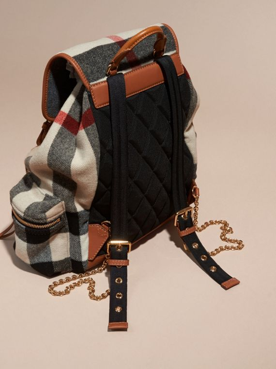 Check/grey The Large Rucksack in Check Wool Blend and Leather - cell image 3