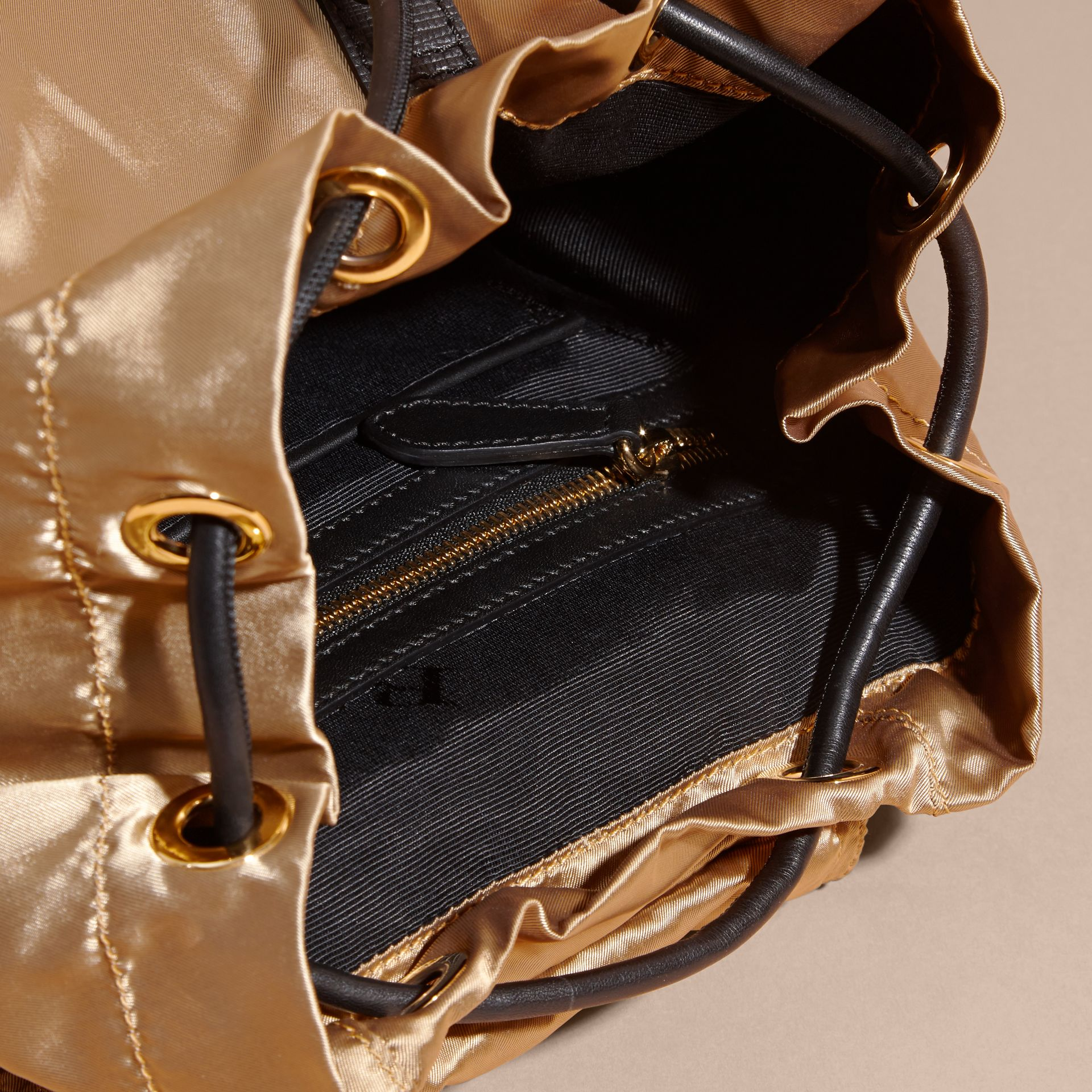 The Medium Rucksack in Two-tone Nylon and Leather Gold/black - gallery image 5