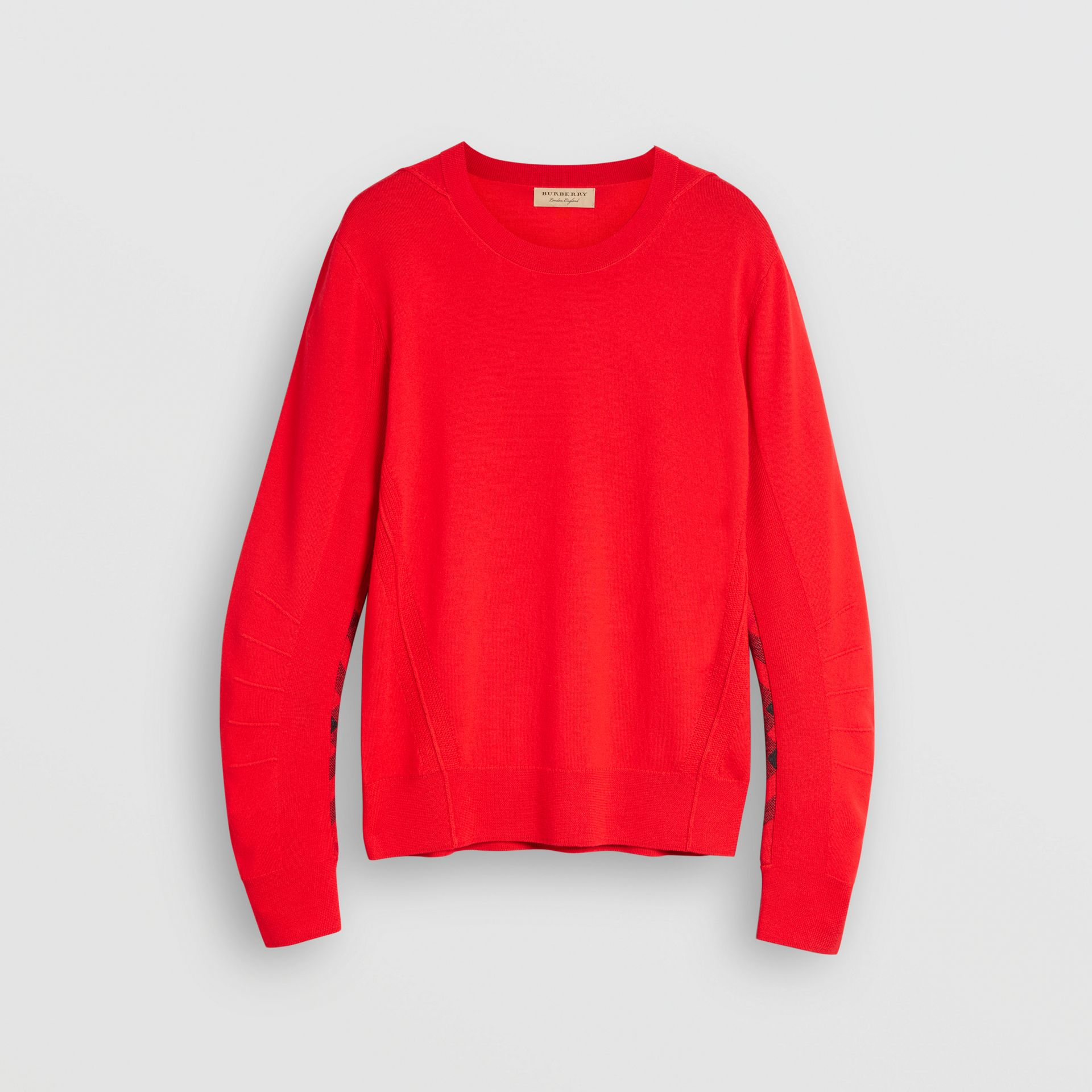 Check Detail Merino Wool Sweater in Bright Red - Men | Burberry - gallery image 3