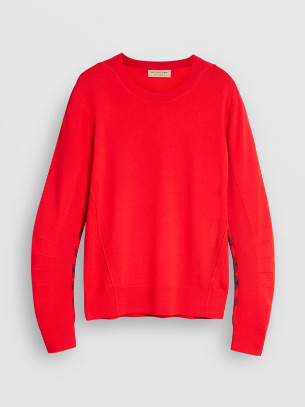 Check Detail Merino Wool Sweater in Bright Red - Men | Burberry - cell image 3
