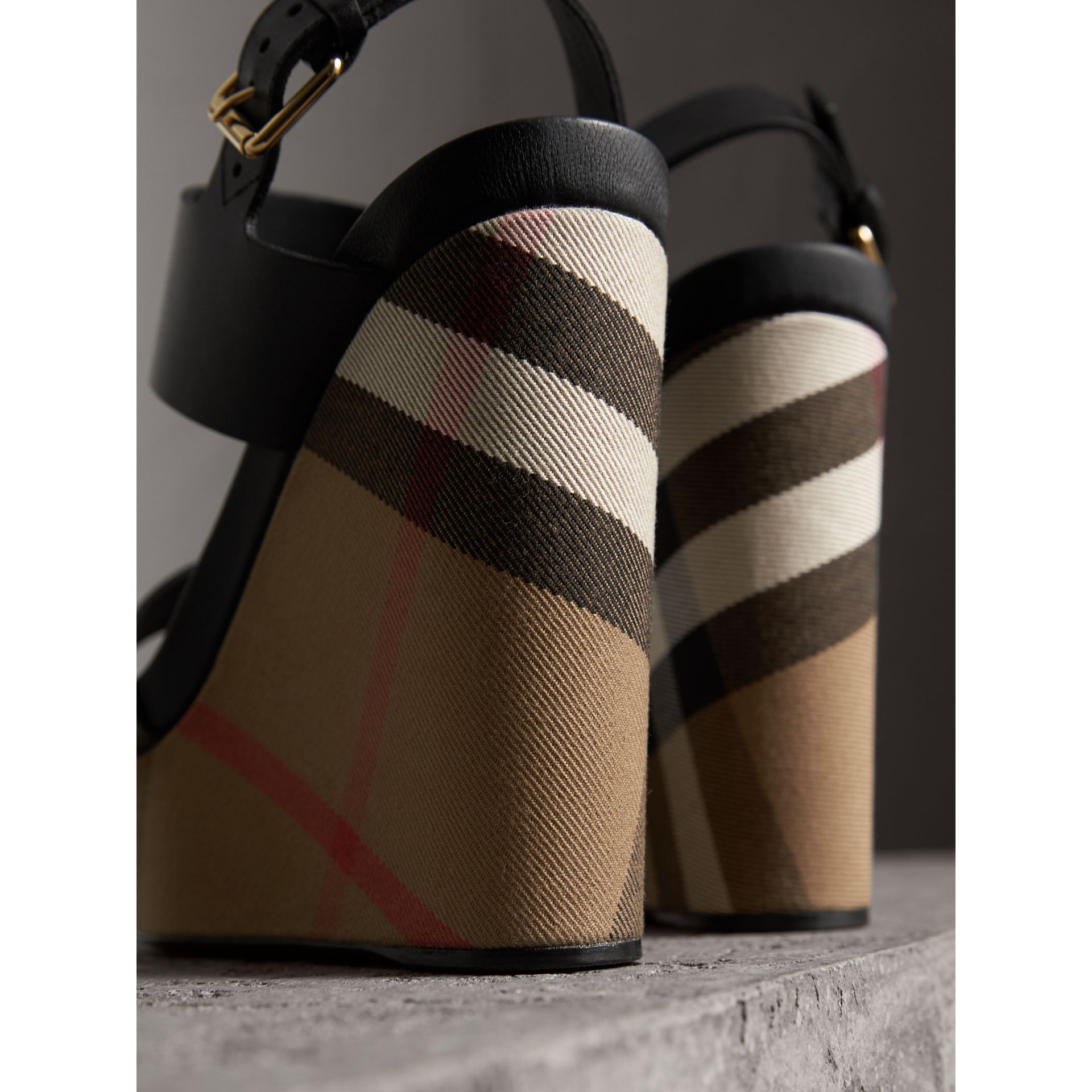 House Check Leather and Calf Suede Platform Wedges in Dark Heather Melange - Women | Burberry Australia - gallery image 3