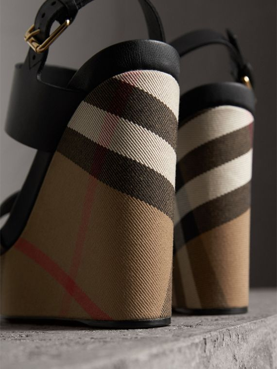 House Check Leather and Calf Suede Platform Wedges in Dark Heather Melange - Women | Burberry Australia - cell image 2