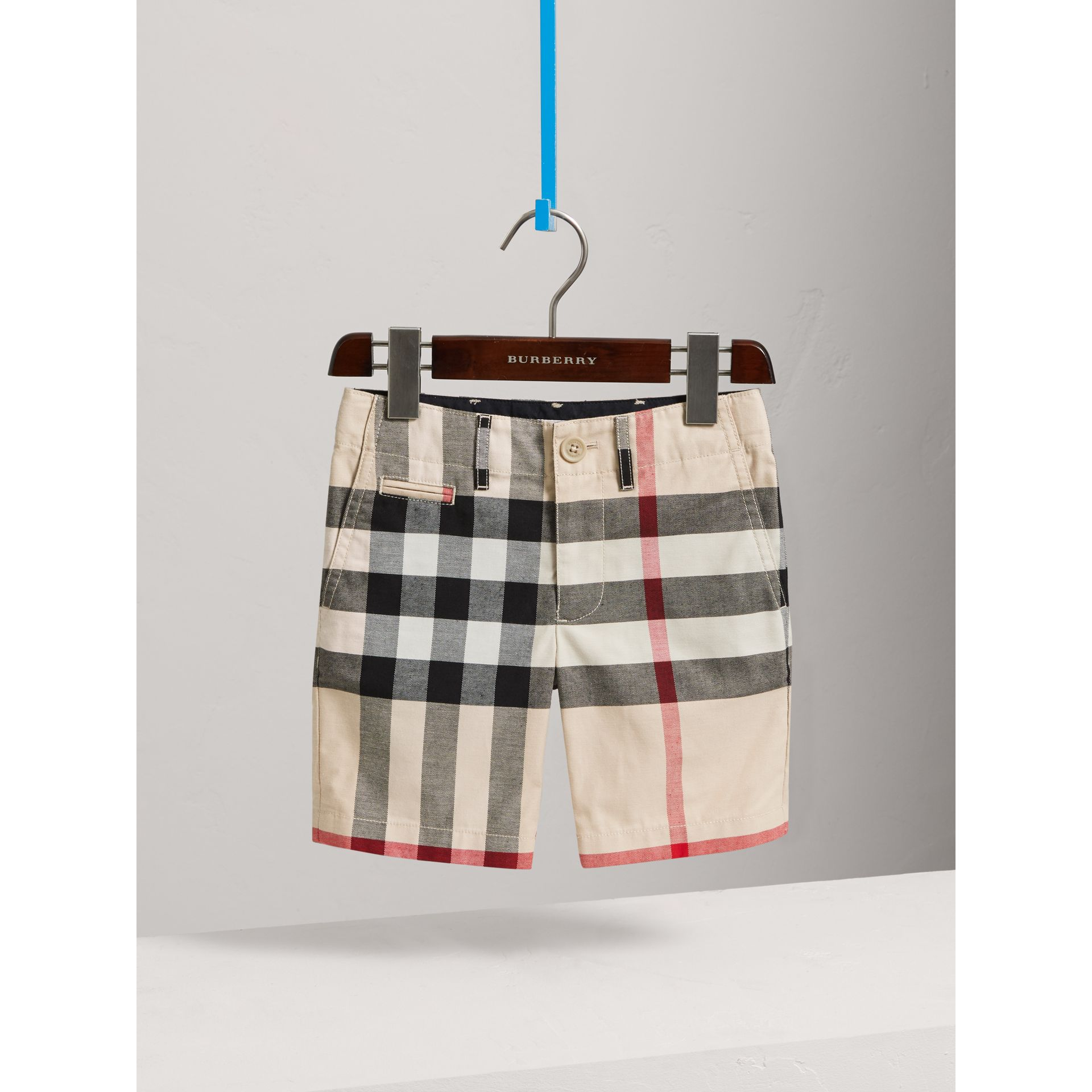 Check Cotton Chino Shorts in Stone - Boy | Burberry United Kingdom - gallery image 0