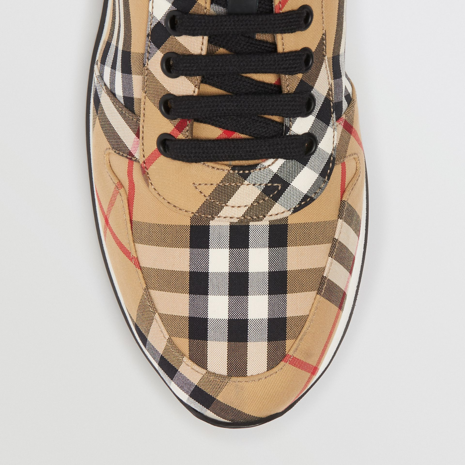 Vintage Check Cotton Trainers in Antique Yellow - Men | Burberry - gallery image 1