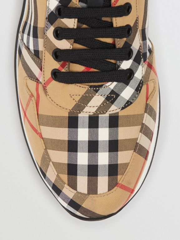 Vintage Check Cotton Trainers in Antique Yellow - Men | Burberry Hong Kong - cell image 1