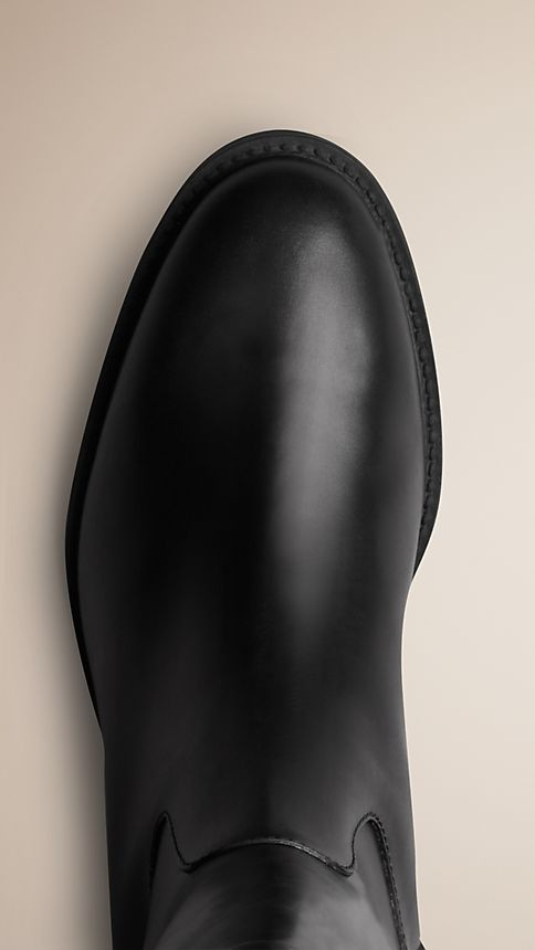 Black House Check Detail Riding Boots - Image 4