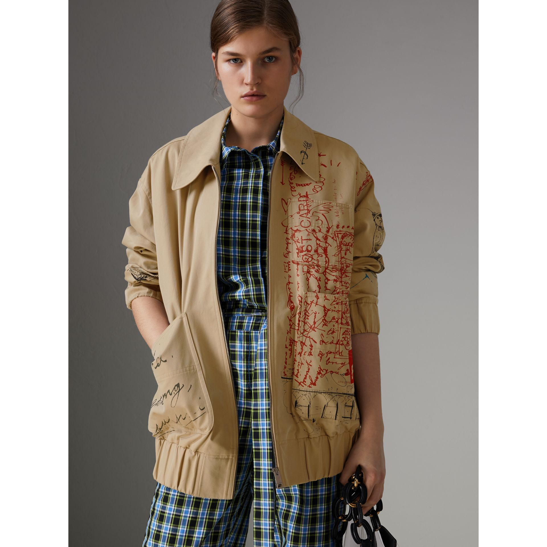 Postcard Print Tropical Gabardine Harrington Jacket in Honey - Women | Burberry - gallery image 6