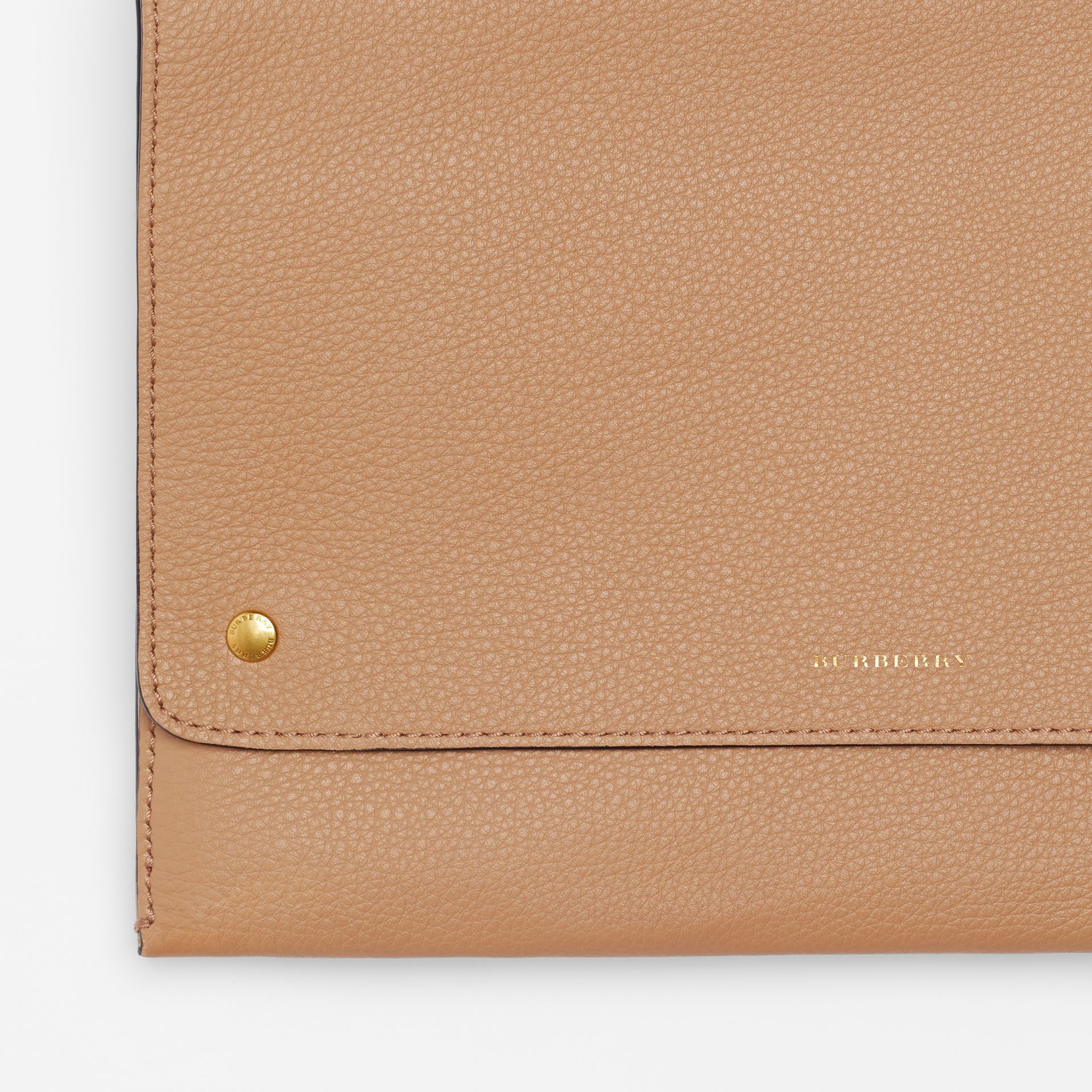 Leather Pouch with Detachable Strap in Light Camel - Women | Burberry United States - gallery image 1