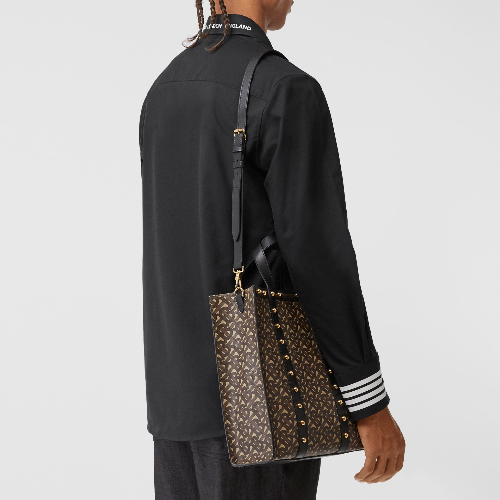 Small Monogram Print E-canvas Portrait Tote Bag in Black - Women | Burberry - gallery image 2