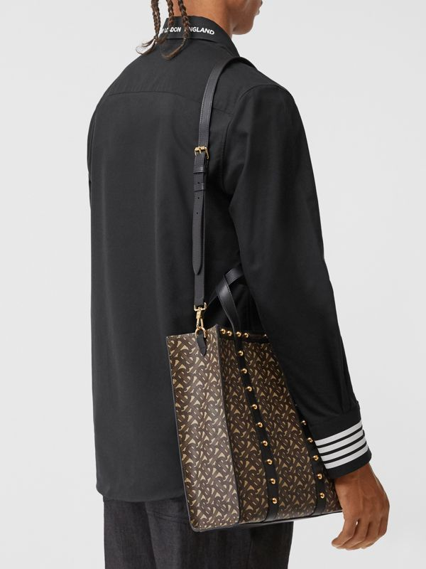Small Monogram Print E-canvas Portrait Tote Bag in Black - Women | Burberry - cell image 2