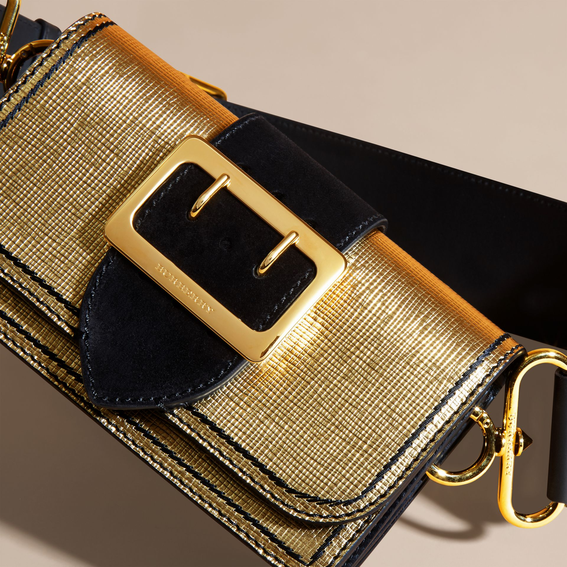 Gold/black The Small Buckle Bag in Metallic Leather and Suede - gallery image 2