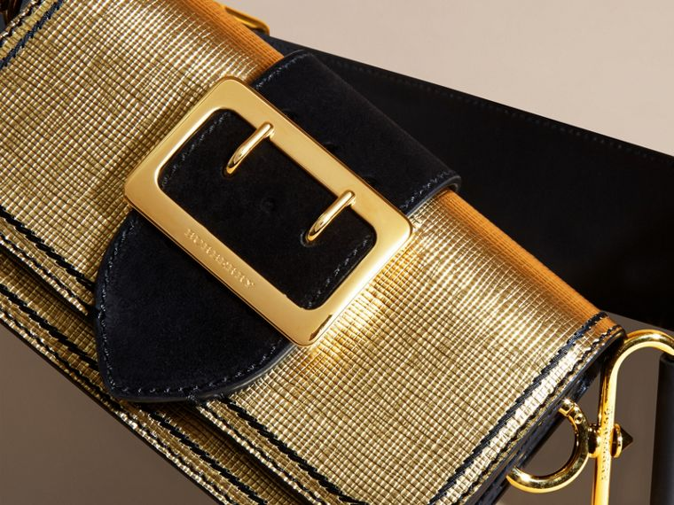 Gold/black The Small Buckle Bag in Metallic Leather and Suede - cell image 1