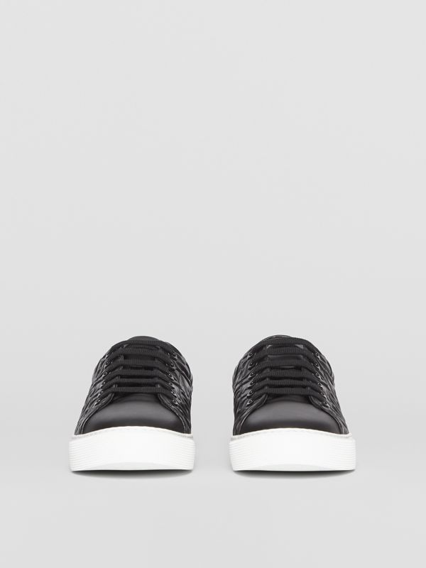 Monogram Leather Sneakers in Black - Women | Burberry Australia - cell image 3