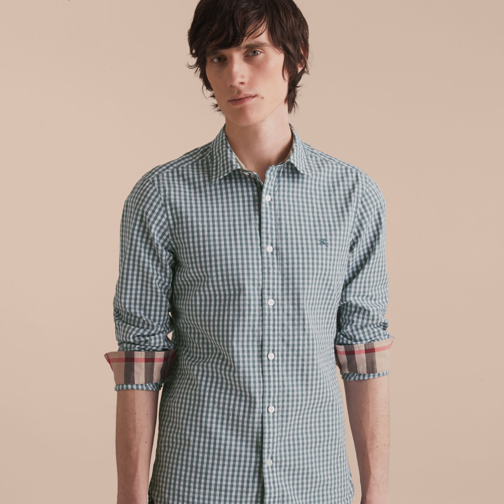 Gingham Cotton Poplin Shirt with Check Detail in Dusty Teal Blue - Men | Burberry - gallery image 6