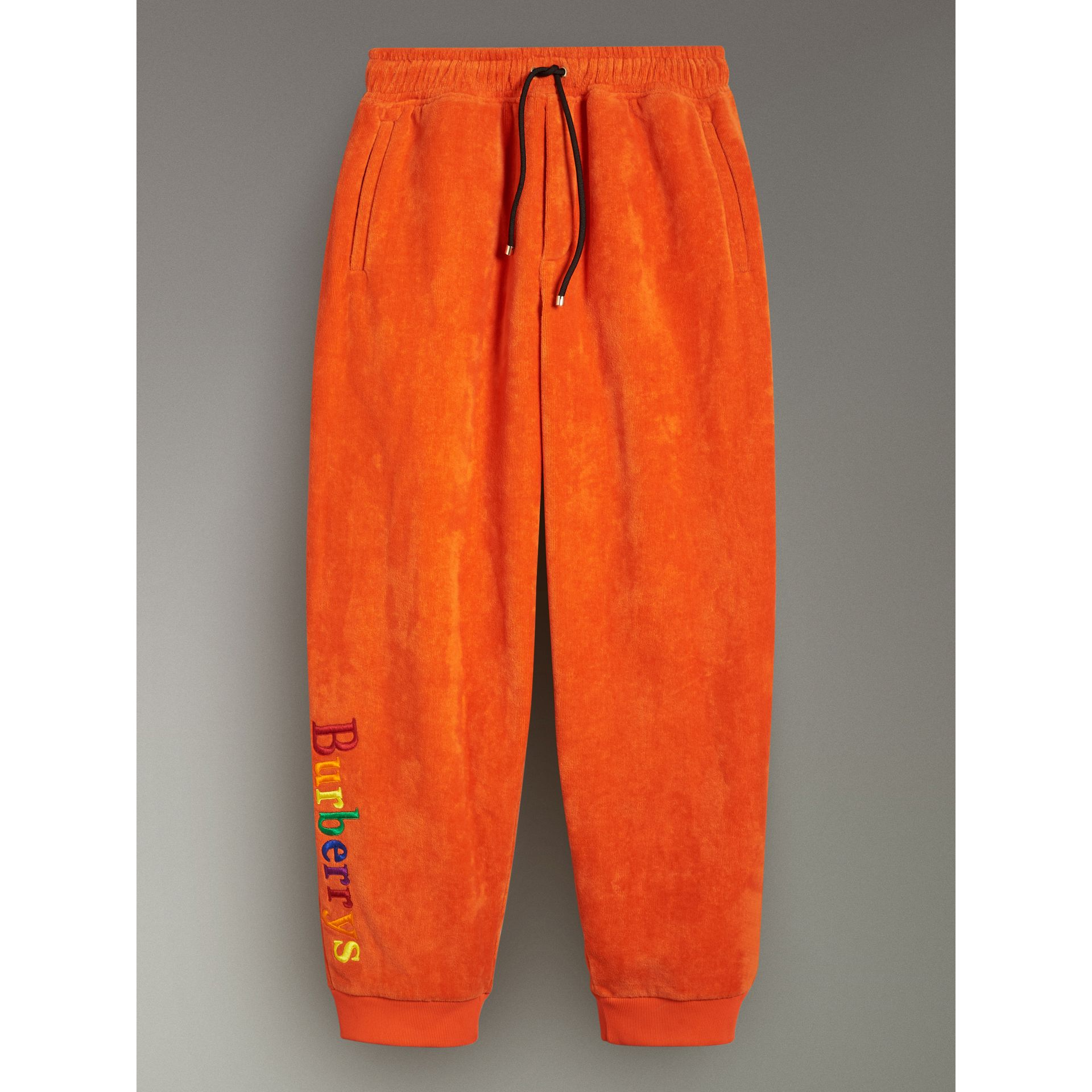 Archive Logo Towelling Sweatpants in Tangerine - Women | Burberry Australia - gallery image 3