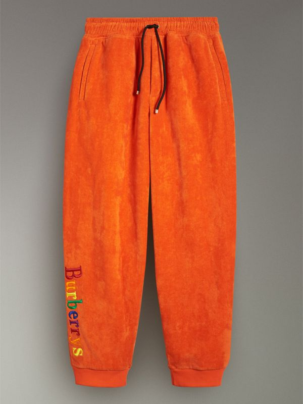 Archive Logo Towelling Sweatpants in Tangerine - Women | Burberry - cell image 3