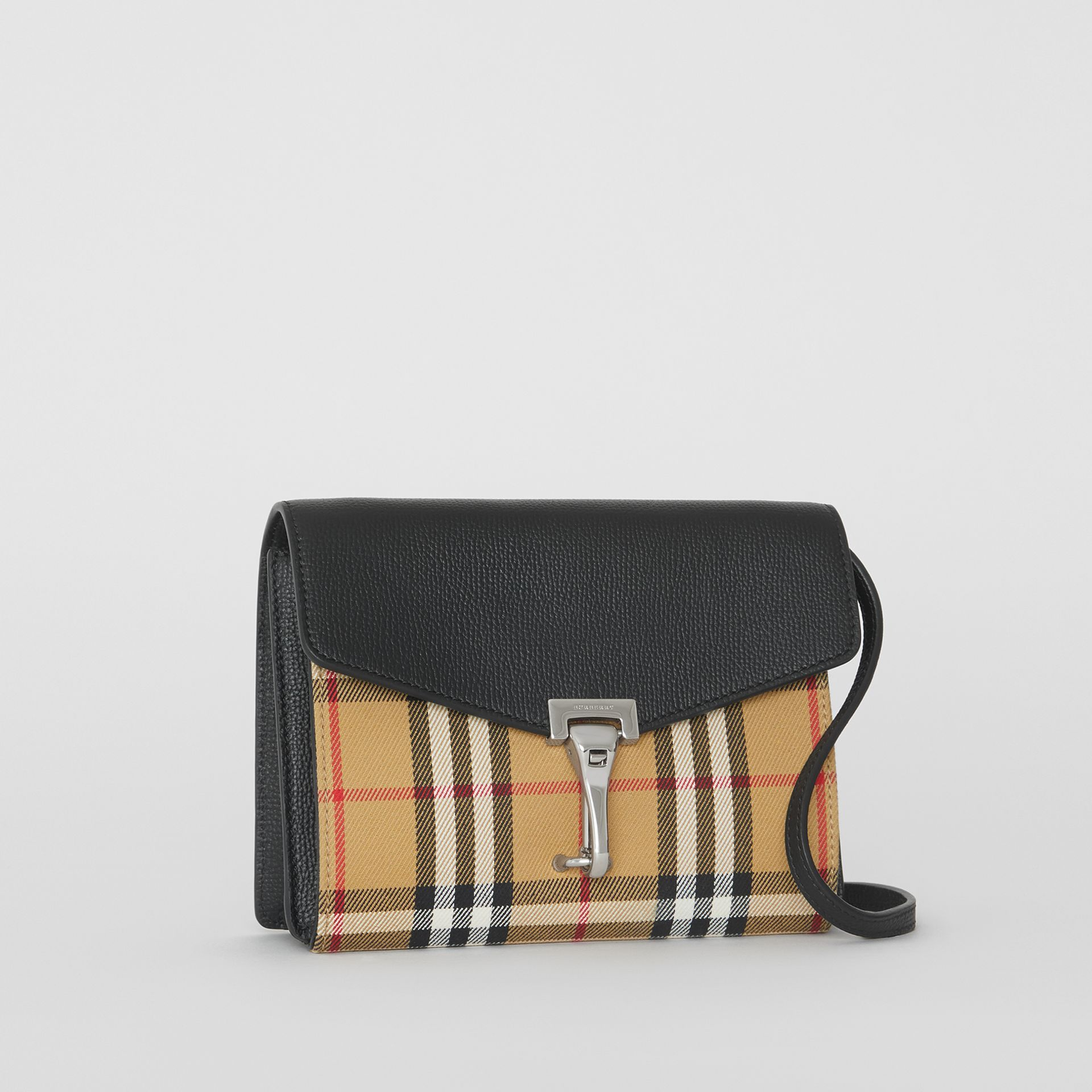 Mini Leather and Vintage Check Crossbody Bag in Black - Women | Burberry - gallery image 4