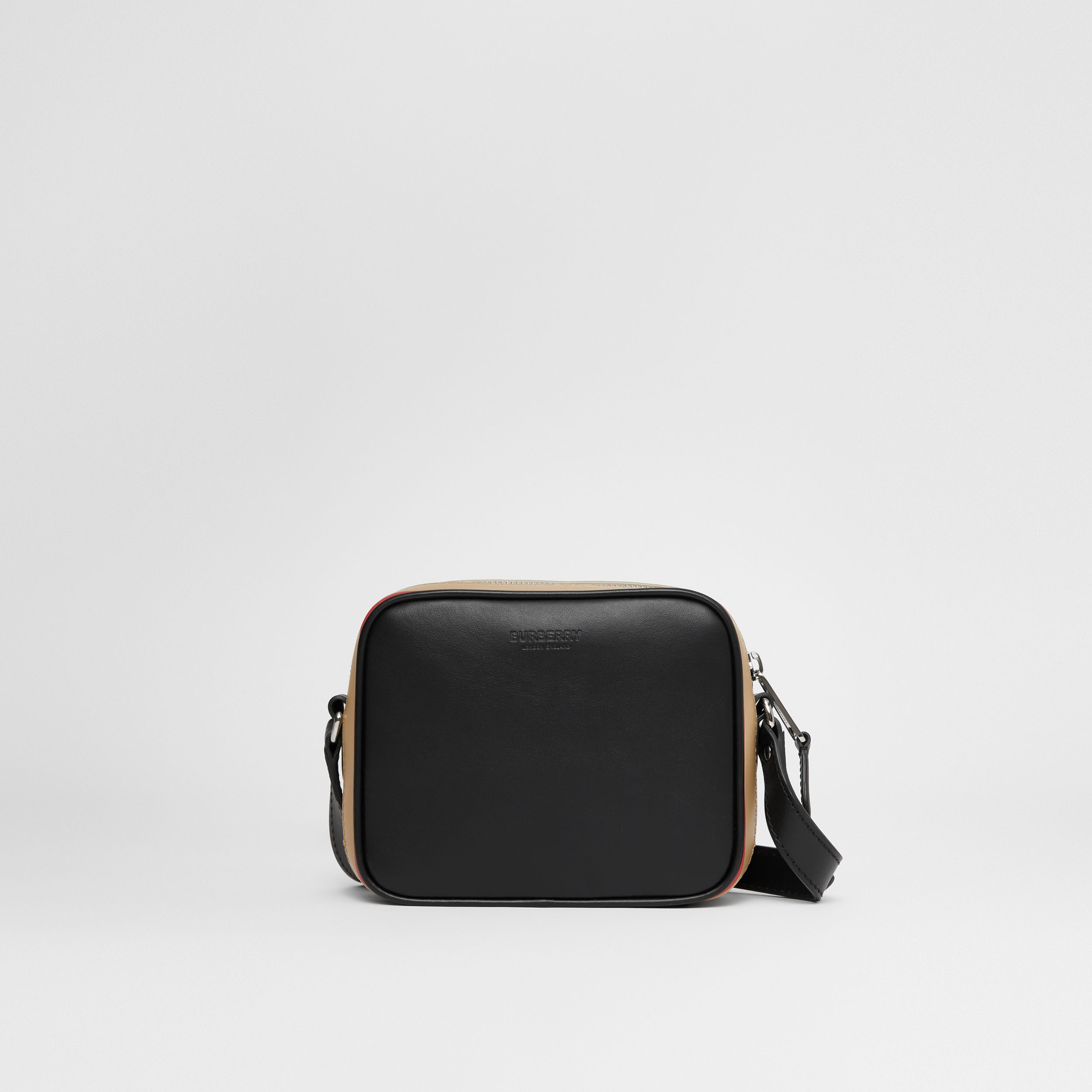 Icon Stripe Print Leather Crossbody Bag in Black | Burberry Australia - 1