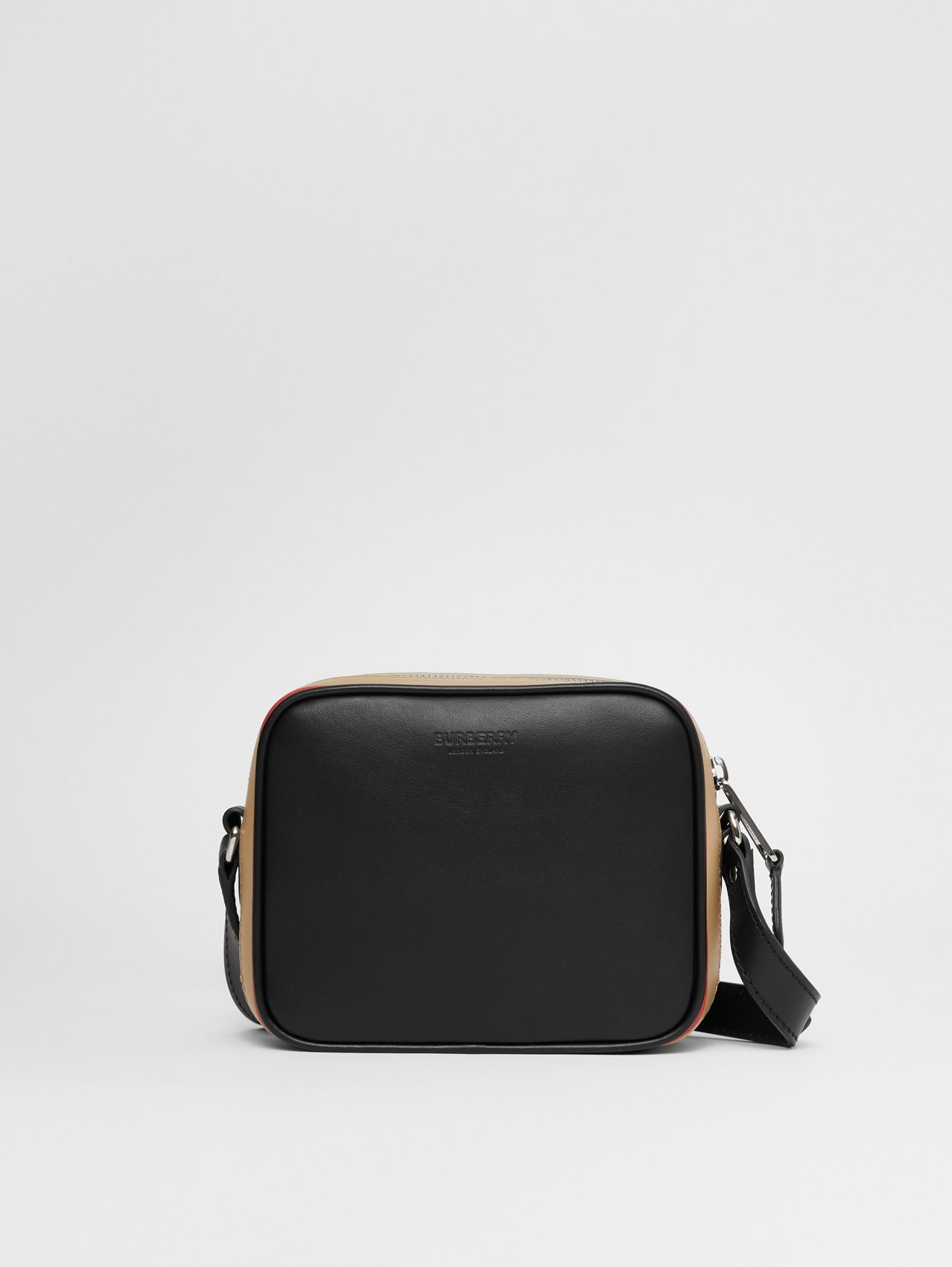 Icon Stripe Print Leather Crossbody Bag in Black