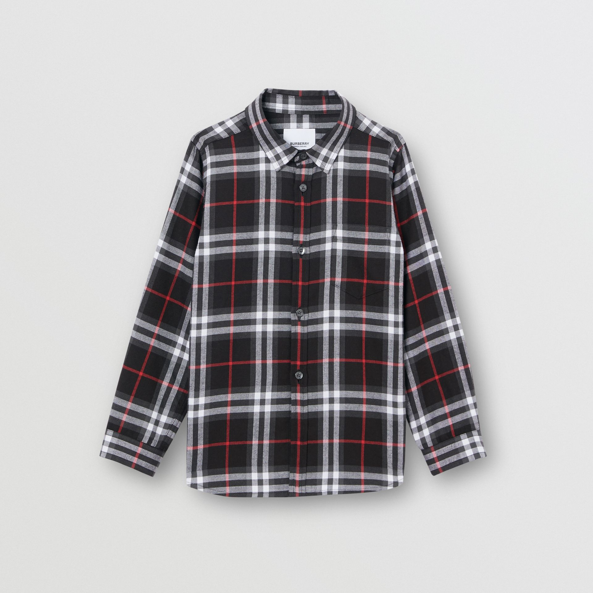 Vintage Check Cotton Flannel Shirt in Black | Burberry - gallery image 0